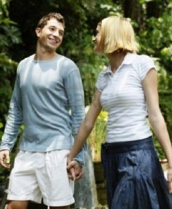 image of a couple walking for exercise