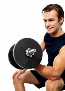 model performing biceps curls