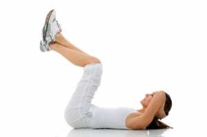 image of girl performing crunches