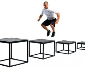 image of athlete jumping on plyometrics boxes