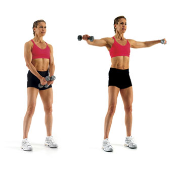 Woman performing a lateral raise